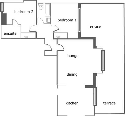 Floor Plan for Luxury Holiday Apartment 8